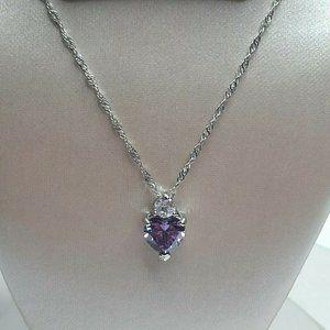 Godyce Heart Crystal Amethyst Pendant Necklace